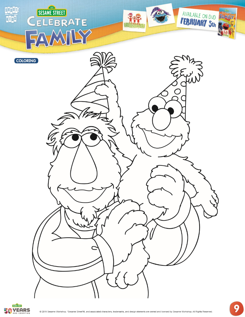 full sesame street birthday coloring page