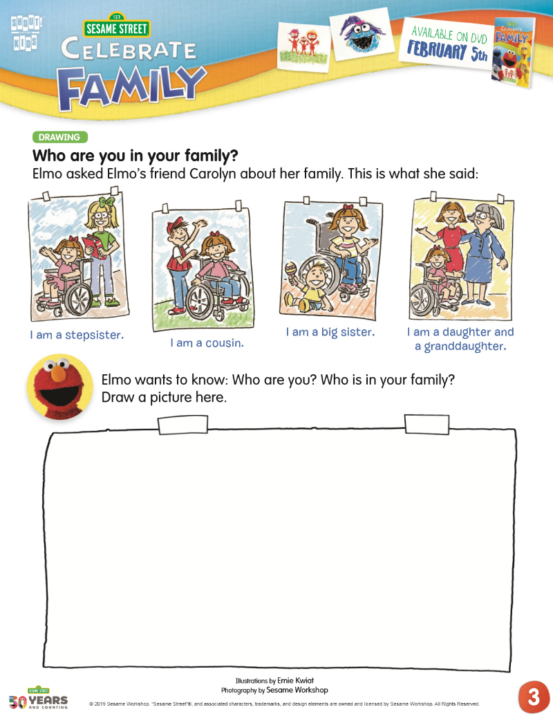 full sesame street family activity page