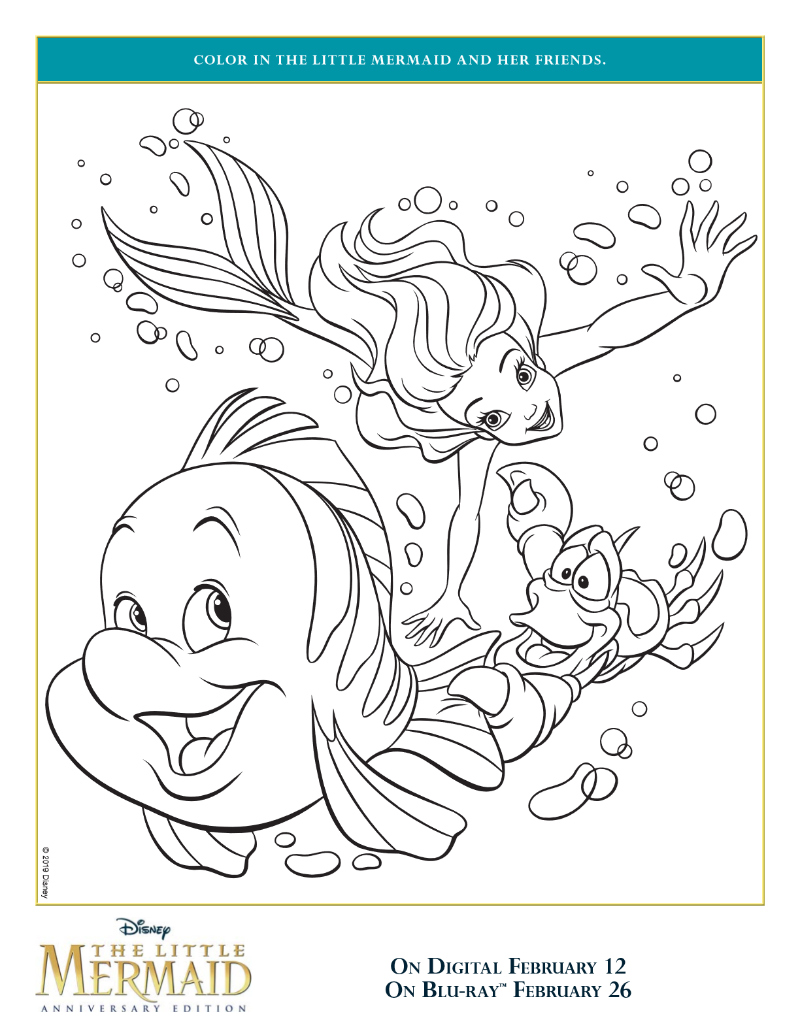 Free Printable Ariel and Friends Coloring Page from Disney The Little Mermaid - Ariel, Sebastian the Crab and Flounder