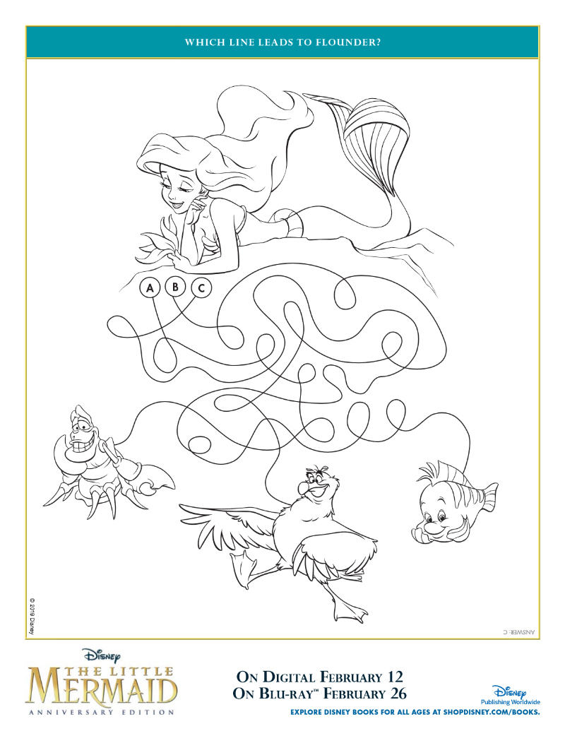 Disney The Little Mermaid Flounder Activity Page - Free Printable featuring Ariel, Flounder, Sebastian and Scuttle