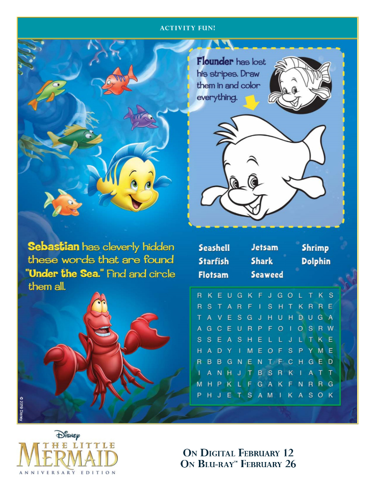 Free Printable Disney Little Mermaid Activities Page - Sebastian Word Search and Flounder Drawing Activity