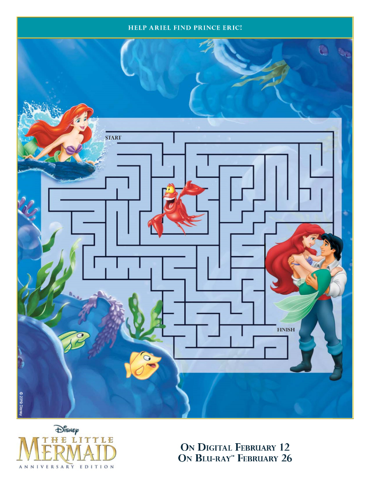 Free Printable Disney The Little Mermaid Maze with Ariel and Prince Eric