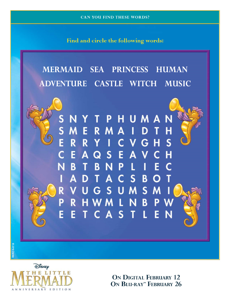 Disney Little Mermaid Word Search Free Printable Activity Page
