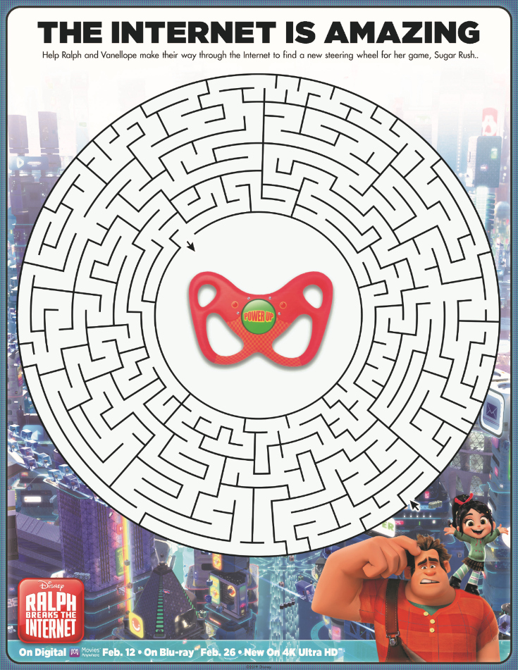 Free Printable Ralph Breaks The Internet Maze Activity Page from Disney
