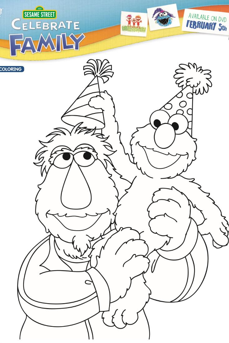 Free Printable Sesame Street Birthday Coloring Page - Elmo Celebrates Family