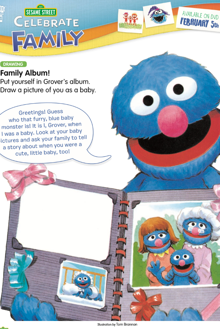 Sesame Street Family Album - free printable coloring page featuring Grover