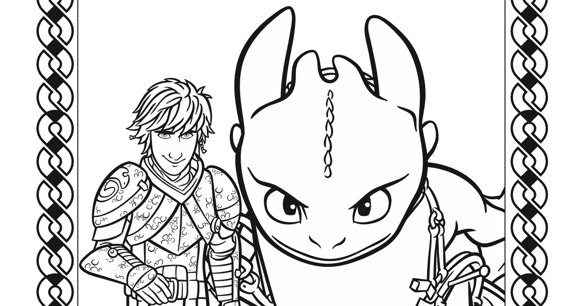 Hiccup and Toothless Coloring Page
