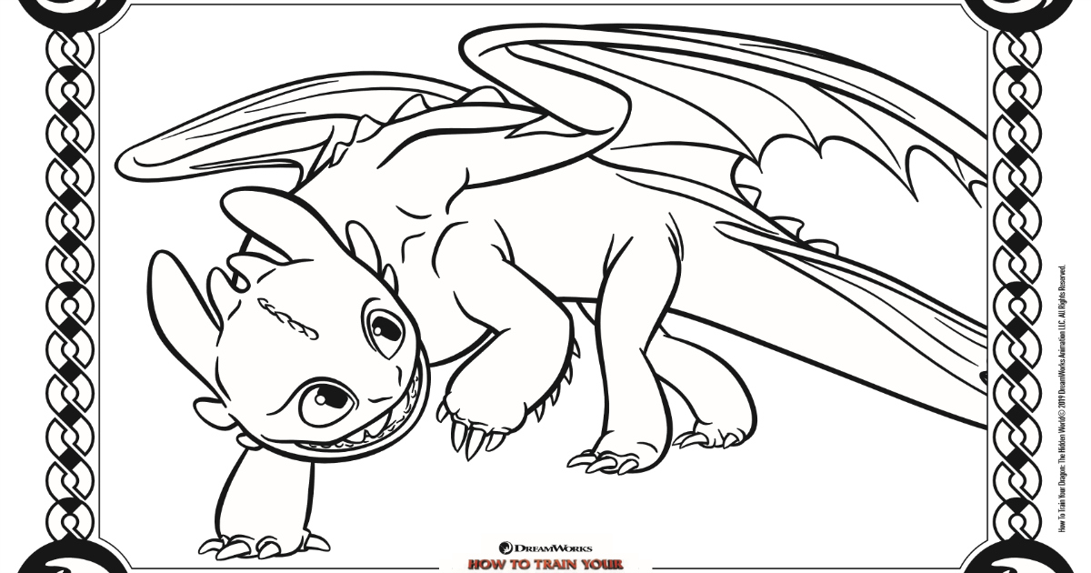 Toothless Coloring Page - How To Train Your Dragon 3 ...