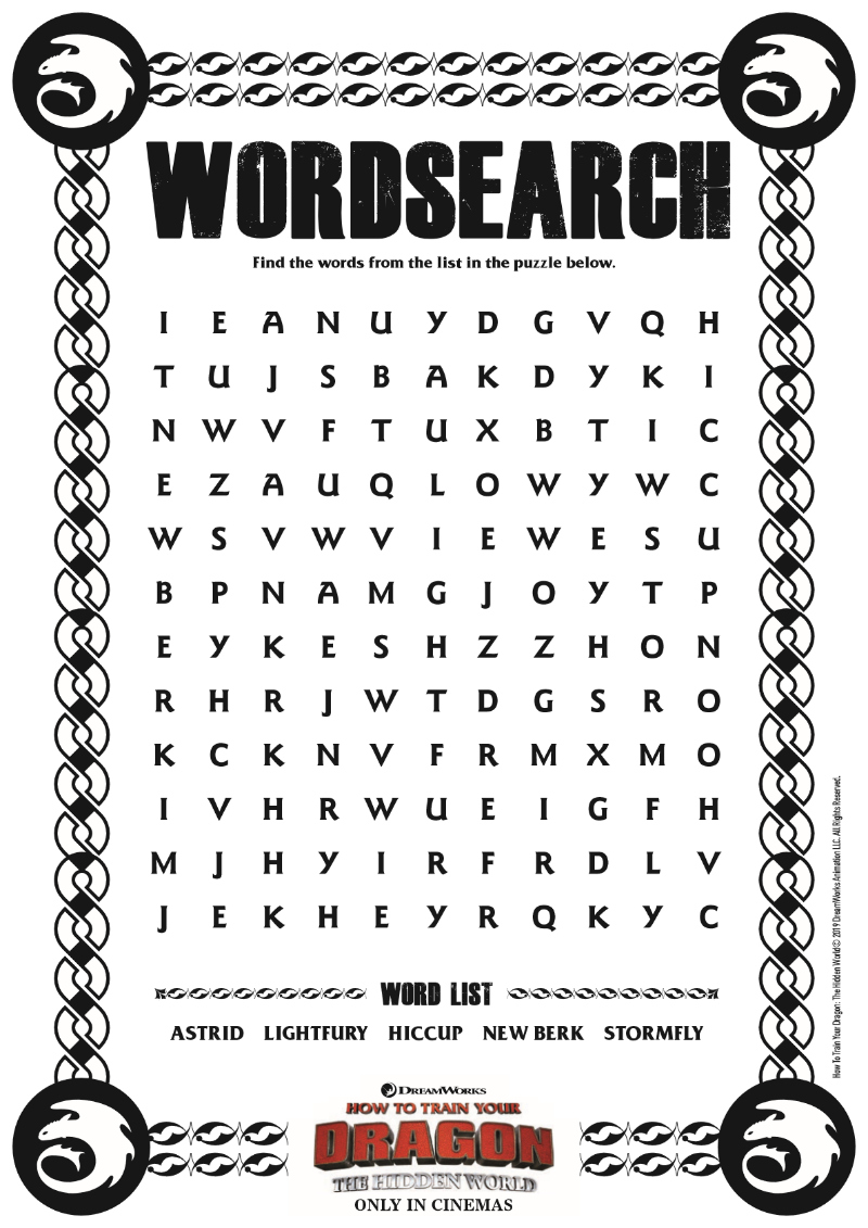 How To Train Your Dragon 3 Dragon Word Search - Free Printable from the Movie