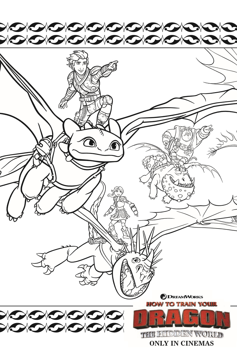 Dragons Coloring Page from How To Train Your Dragon 3 The Hidden World Movie