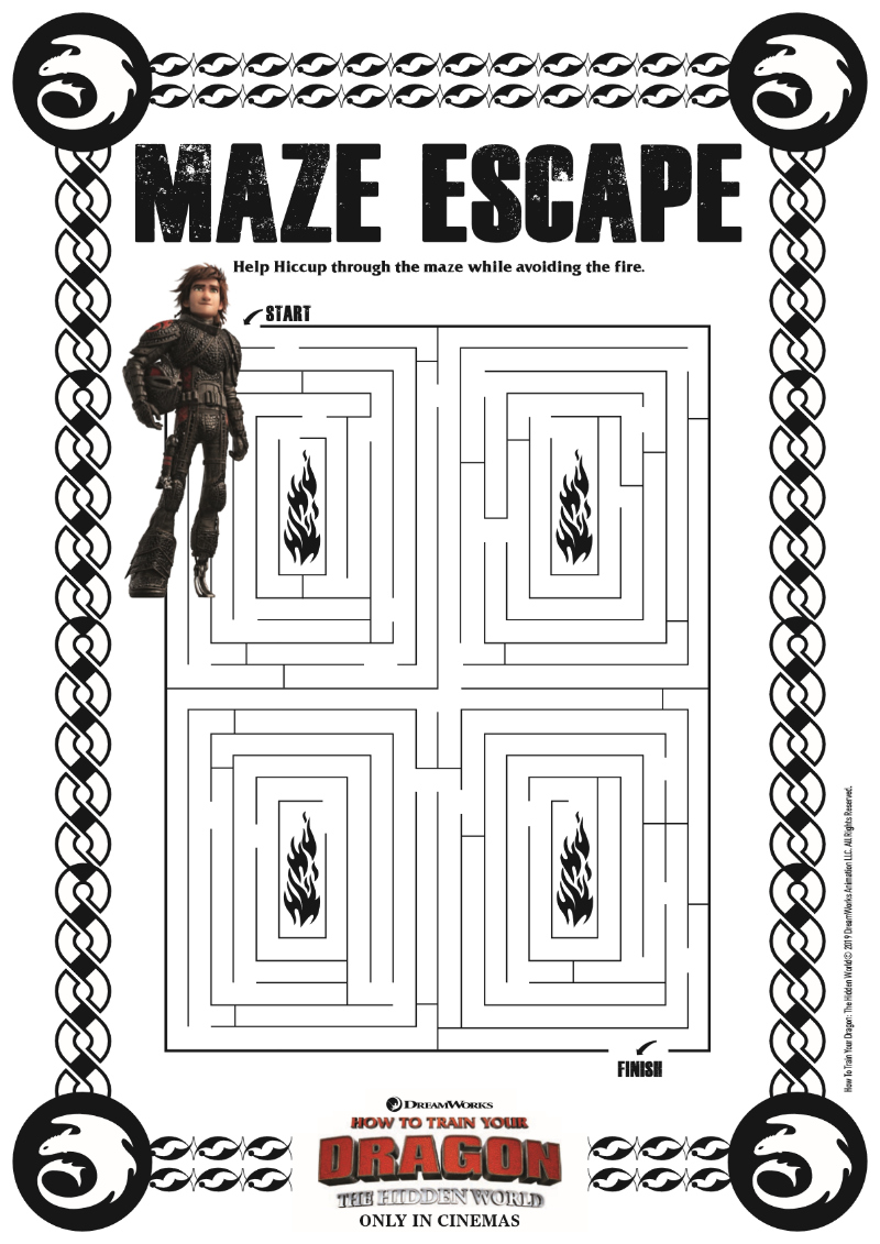 Hiccup Maze from How To Train Your Dragon 3 - Free Printable movie activity