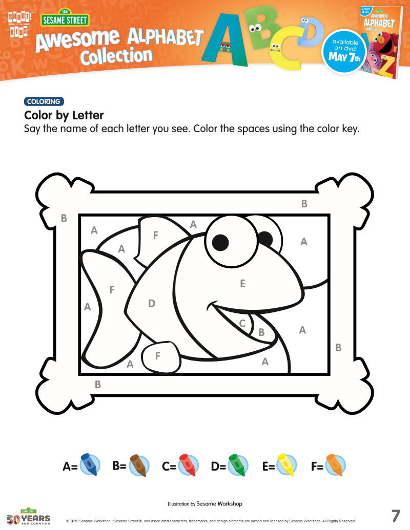 Free Printable Sesame Street Color by Letter Picture - fish coloring page activity