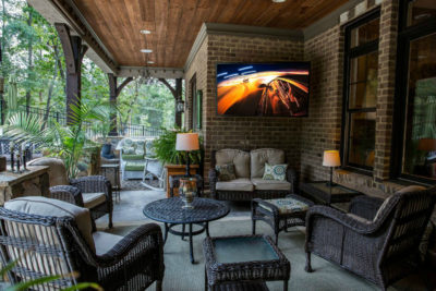 patio with outdoor tv in the outdoor living space