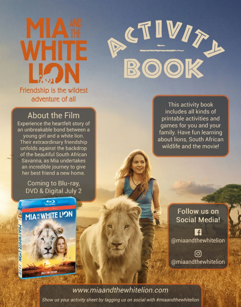 1 free white lion printable activity book