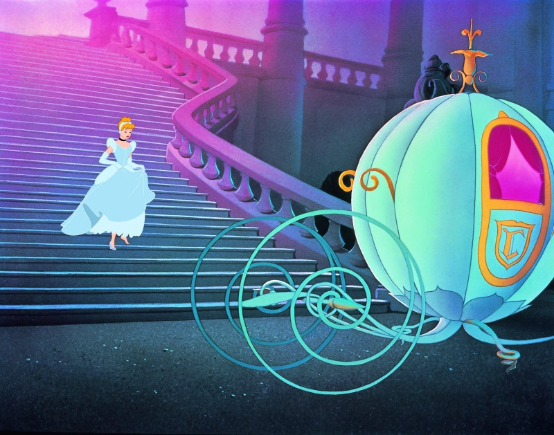 Cinderella running down stairs to the pumpkin carriage