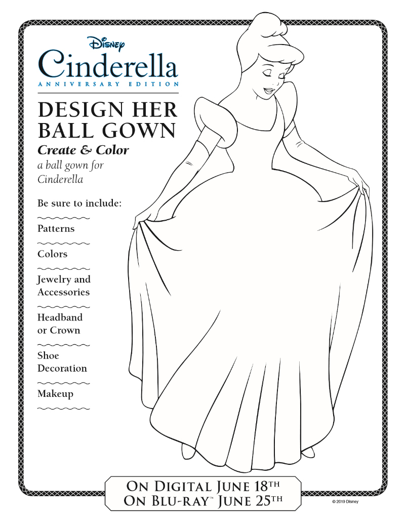 Disney Cinderella Ball Gown Design Activity Page Free Printable