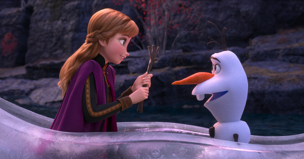 anna and olaf in an ice boat