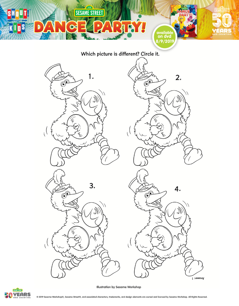 big bird dance party coloring page