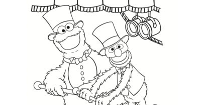 feature cookie monster and grover coloring page