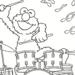 Sesame Street Elmo Drummer Coloring Page