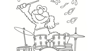 feature elmo drummer coloring page