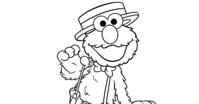 feature elmo on stage coloring page