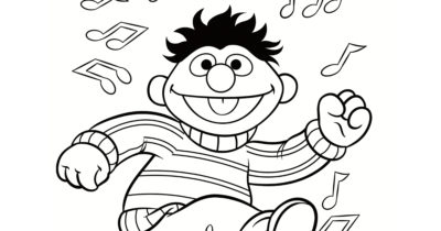 feature ernie dance party coloring page