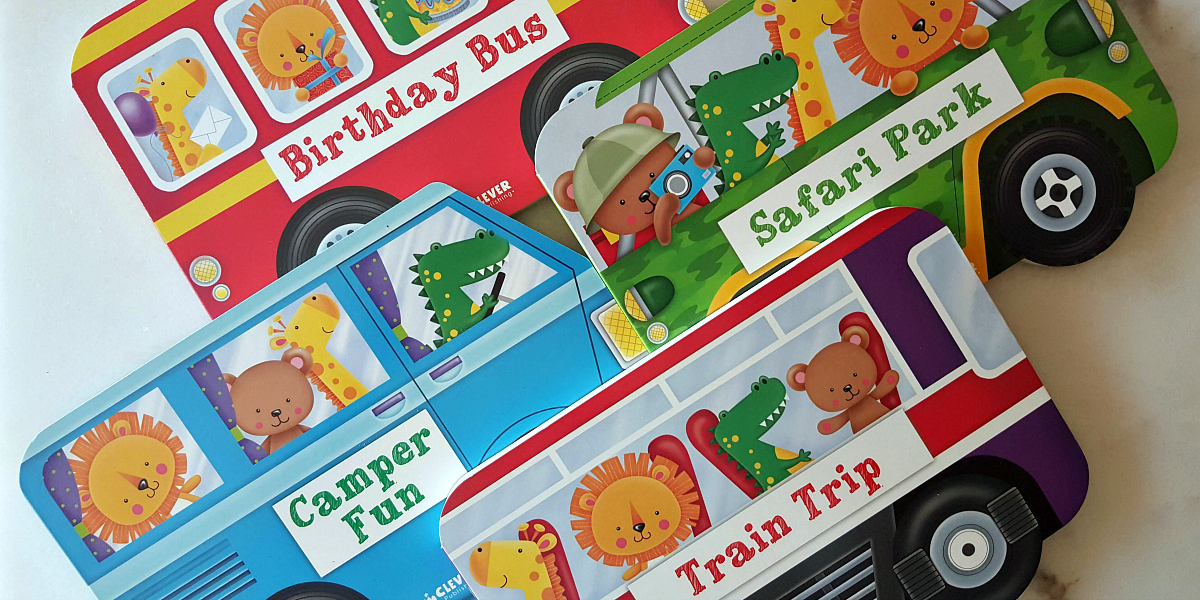 four vehicle shaped summer board books