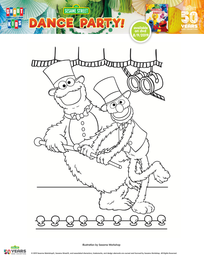 Free Printable Cookie Monster and Grover Coloring Page from Sesame Street