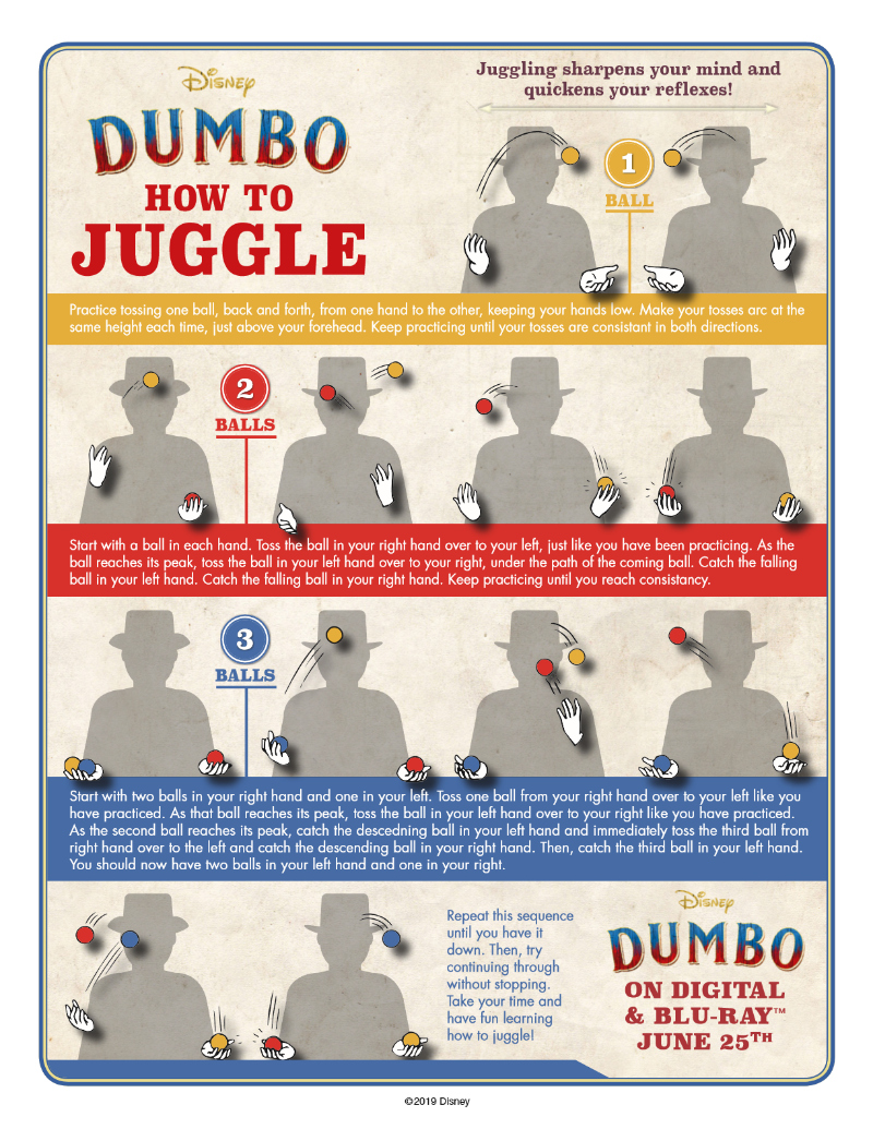 Free Printable Disney Dumbo How To Juggle Activity Page