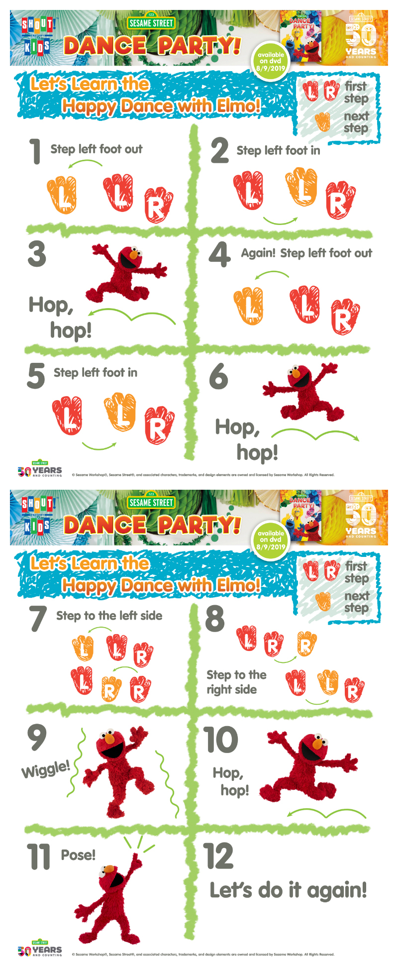 Elmo Happy Dance Instructions for Kids - Free Printable Sesame Street Activity Page