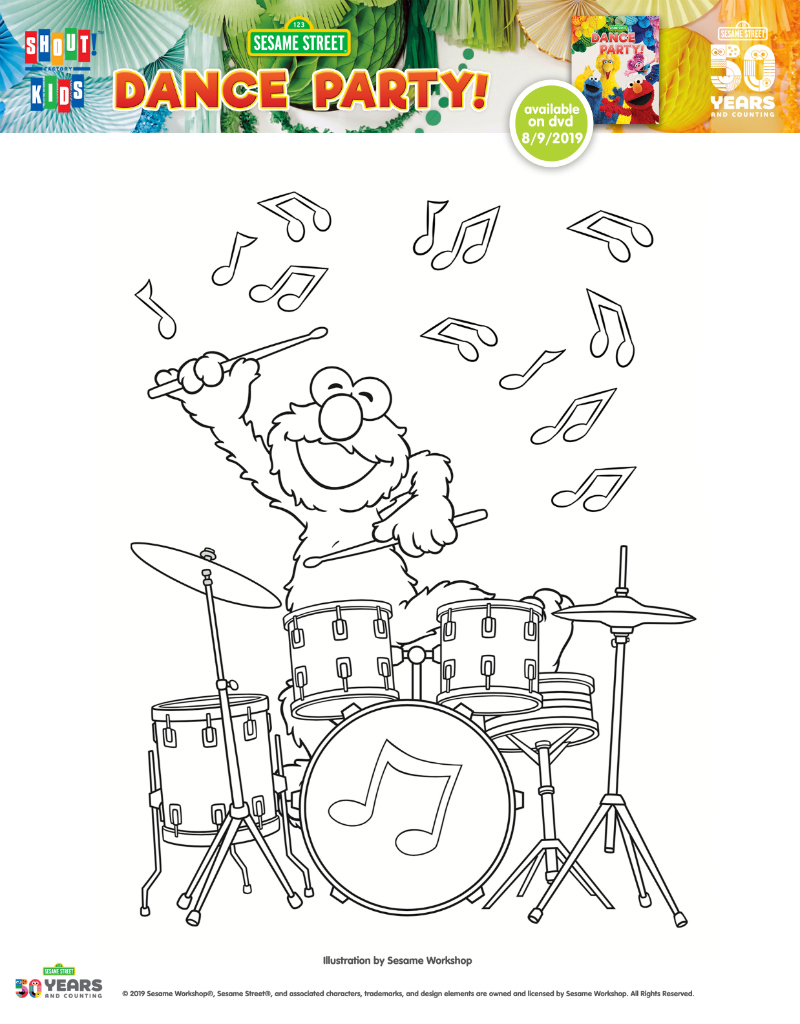 pin elmo drummer coloring page