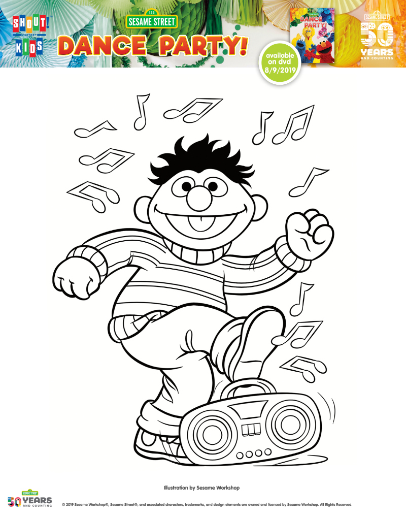 pin ernie dance party coloring page