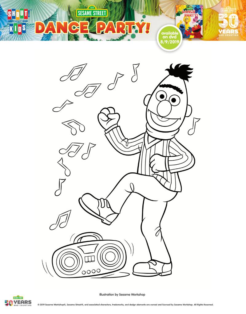 pin sesame street dancing bert coloring page