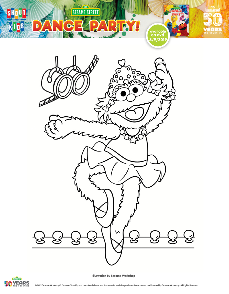pin zoe dance party coloring page
