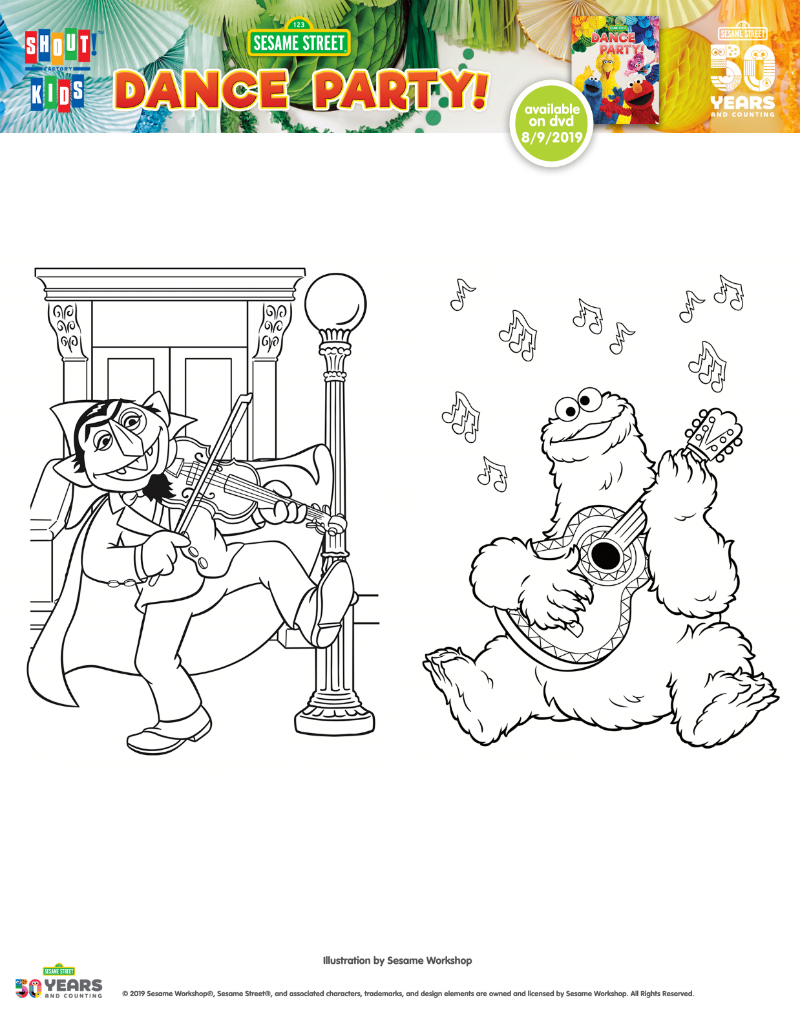 Free Sesame Street Party Coloring Page Printable featuring Cookie Monster and The Count