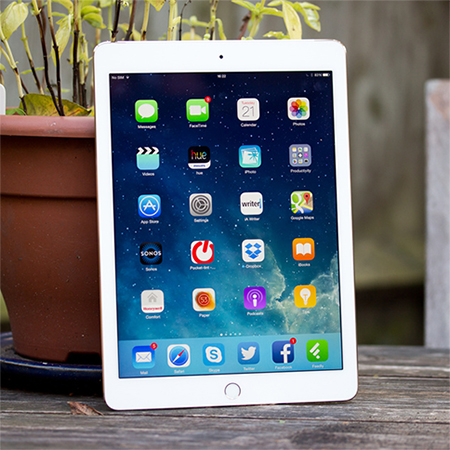 apple ipad air on picnic table with potted plant