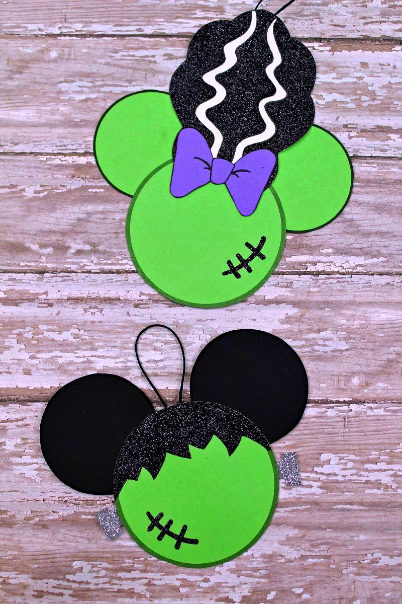 Disney Halloween Frankenstein Craft - Frankenstein Mickey Mouse & Bride of Frankenstein Minnie Mouse
