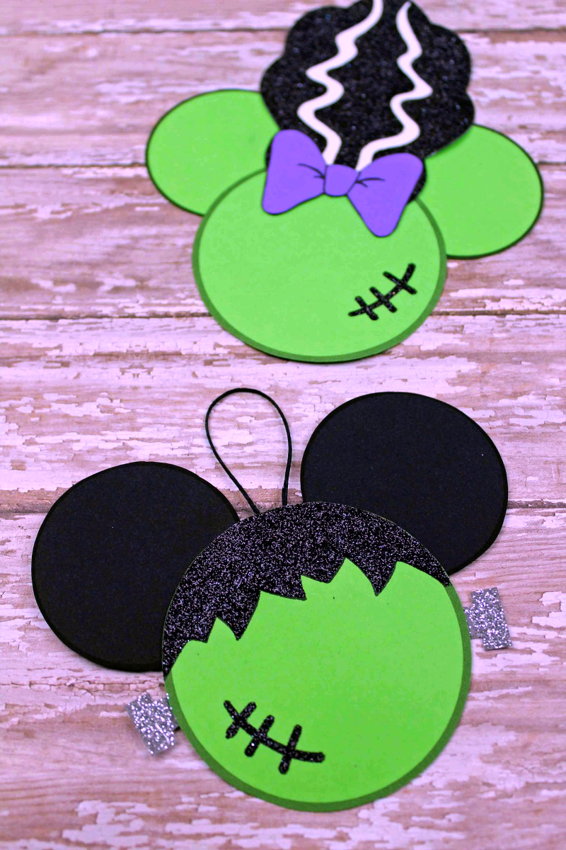 Free Printable Disney Halloween Frankenstein Craft - Frankenstein Mickey Mouse & Bride of Frankenstein Minnie Mouse