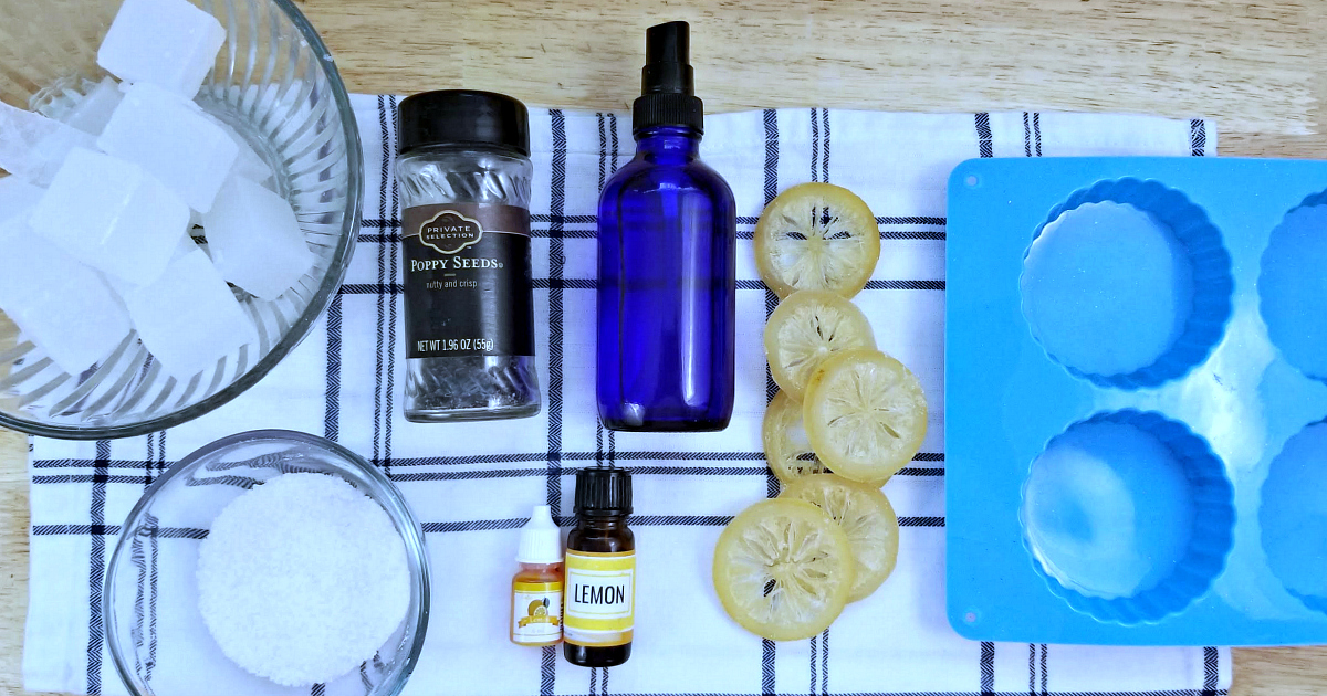supplies for lemon poppy seed soap without lye