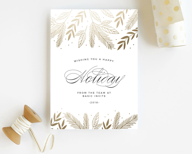 white and gold holiday card