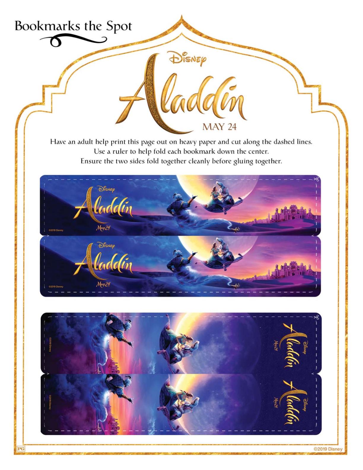 Free Printable Aladdin Bookmarks Craft Mama Likes This