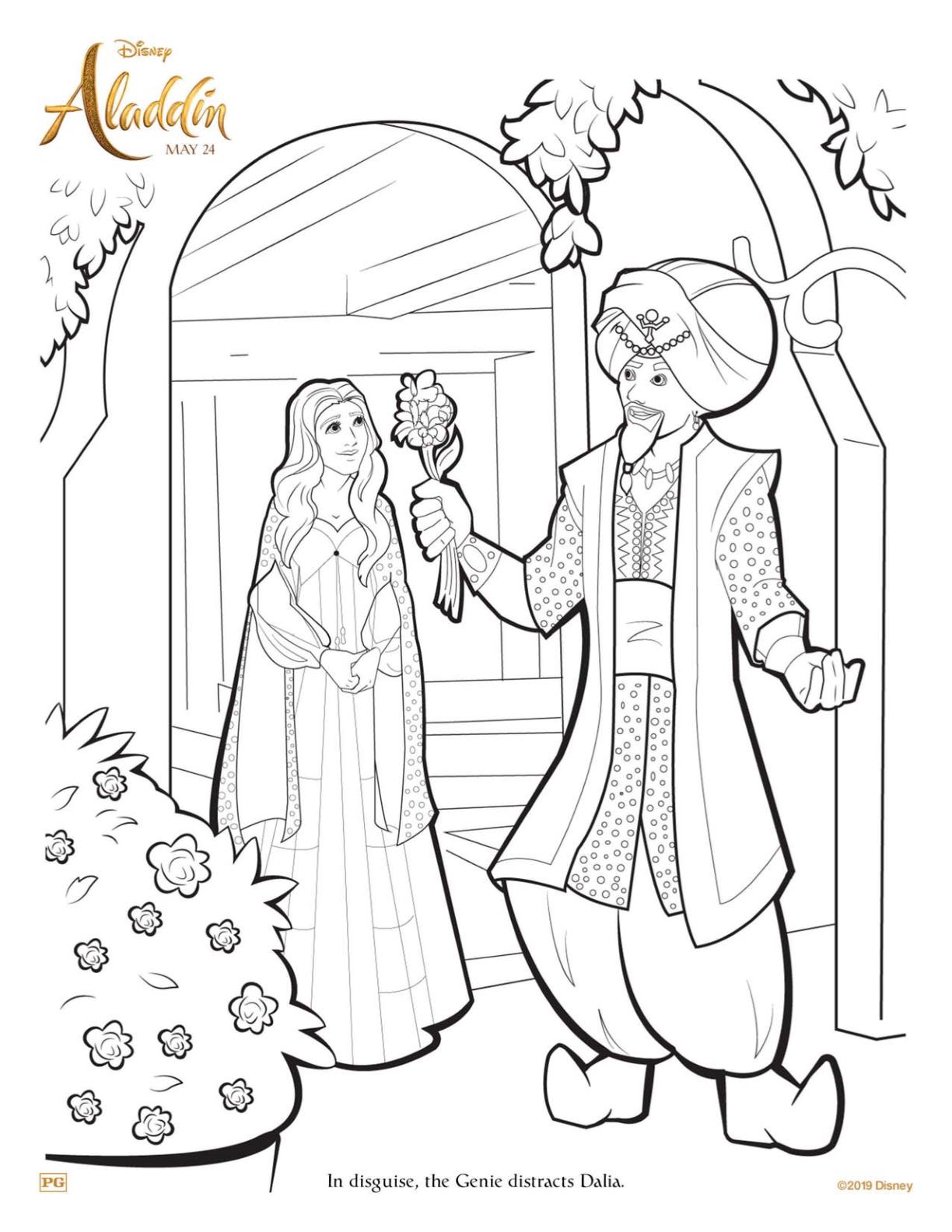 Aladdin Genie Dalia Coloring Page