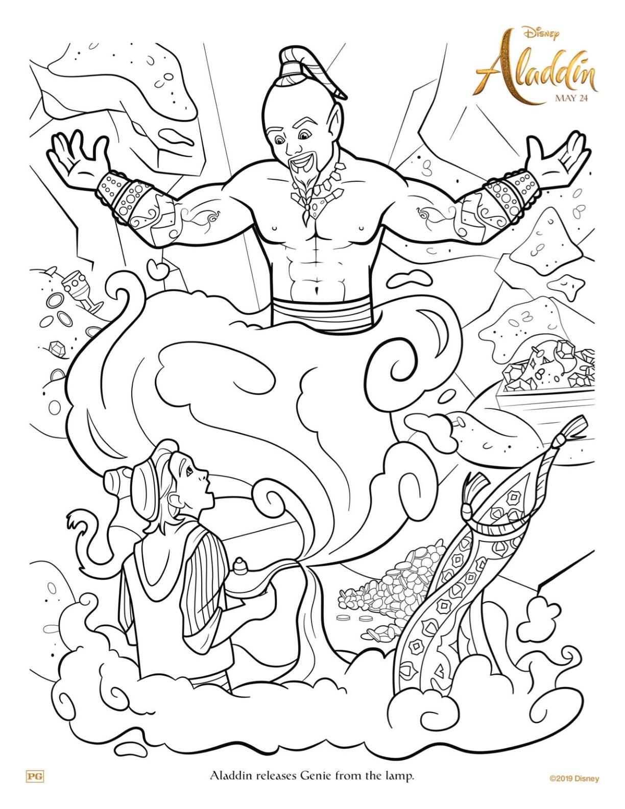 Free Printable Disney Aladdin and Genie Coloring Page #aladdin #disney #freeprintable #genie #willsmith #coloringpage