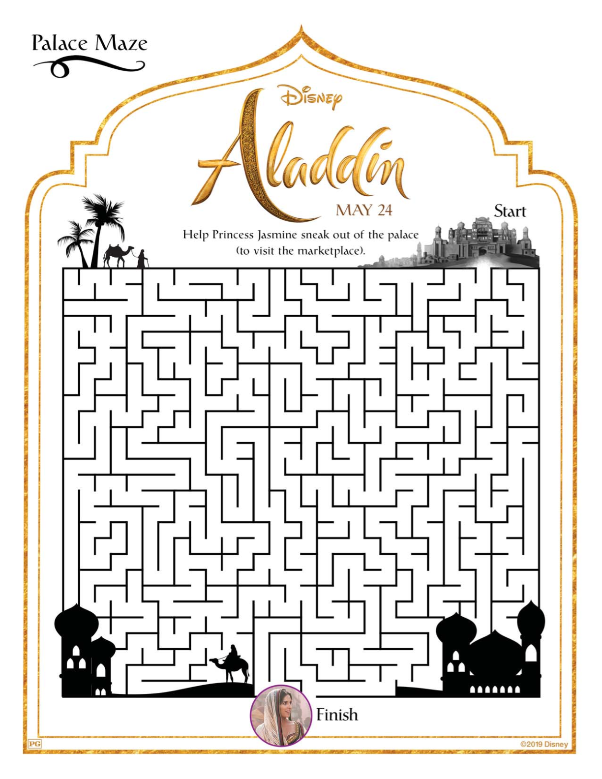 Free Printable Disney Aladdin Palace Maze #disney #aladdin #freeprintable #printable #maze #printablemaze