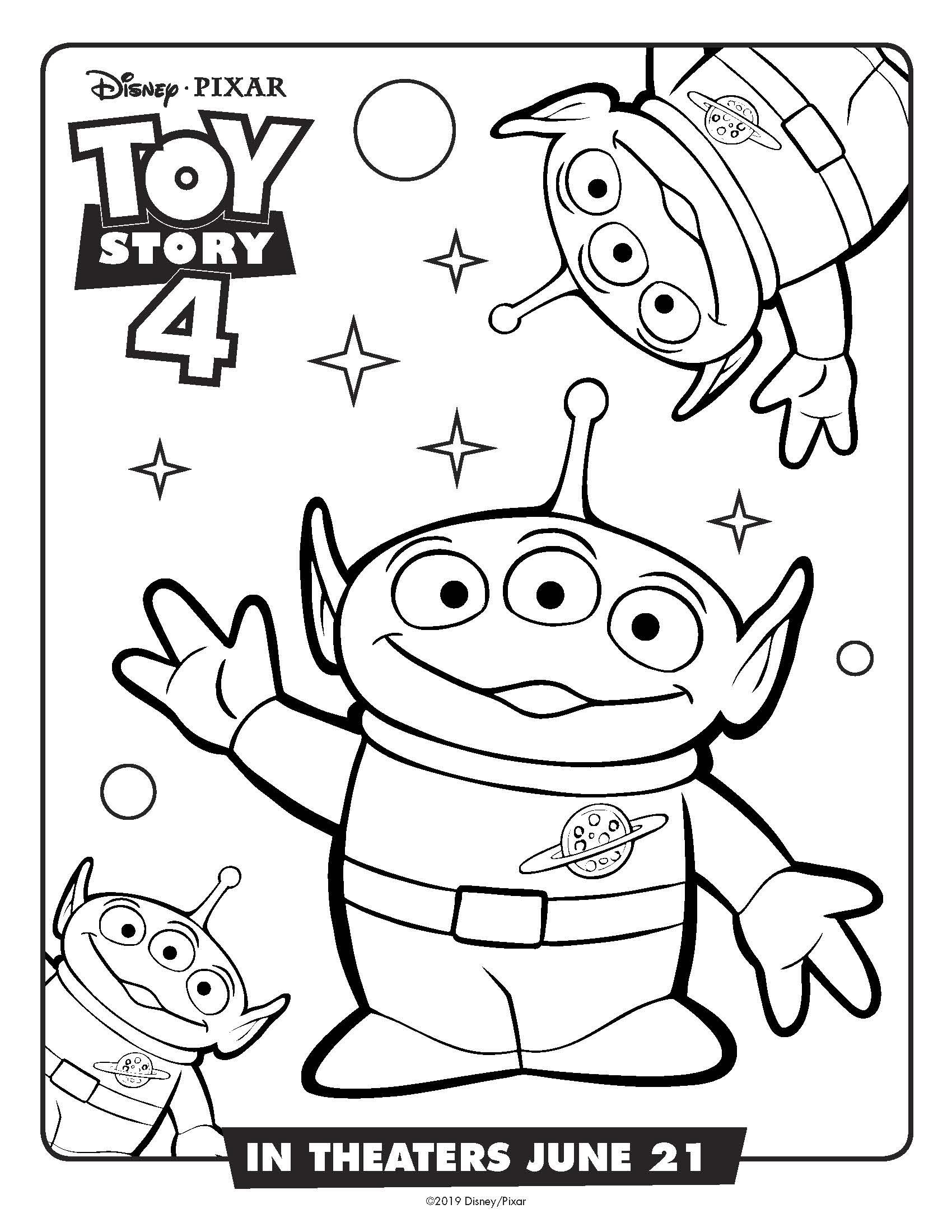 Free Printable Disney Toy Story Aliens Coloring Page #disney #toystory4 #toystory #pixar #aliens #coloringpage #free printable