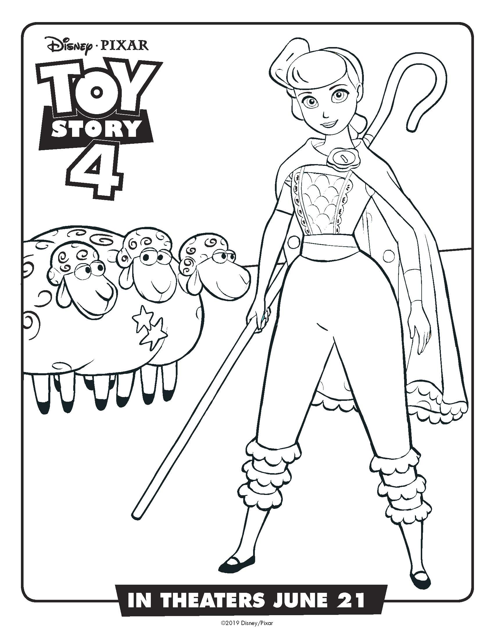 bo peep coloring page toy story