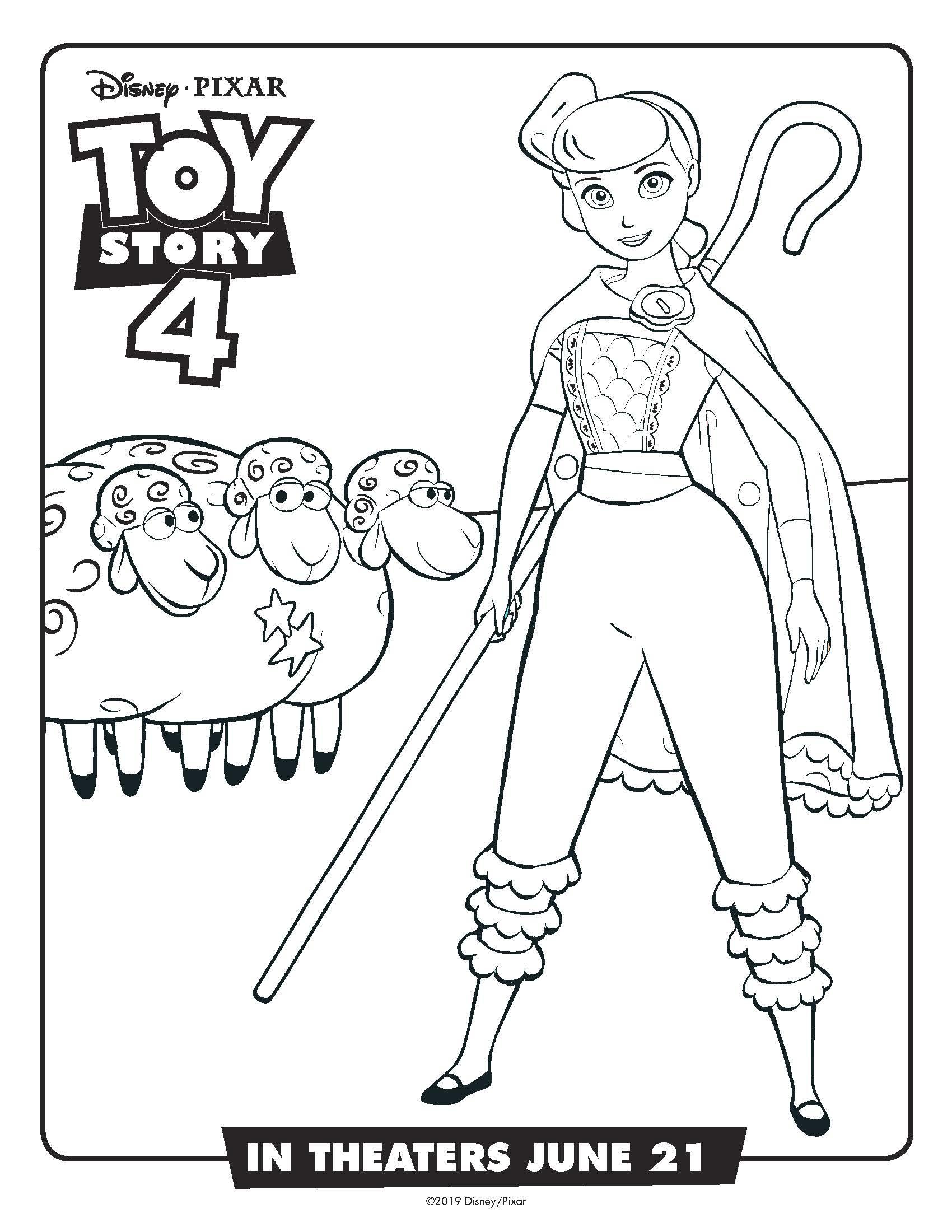 Free Printable Disney Toy Story Bo Peep Coloring Page #disney #toystory #toystory4 #bopeep #freeprintable #coloringpage