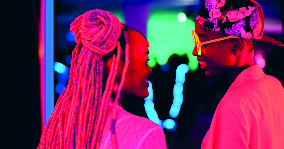 couple smiling at each other in rafiki movie