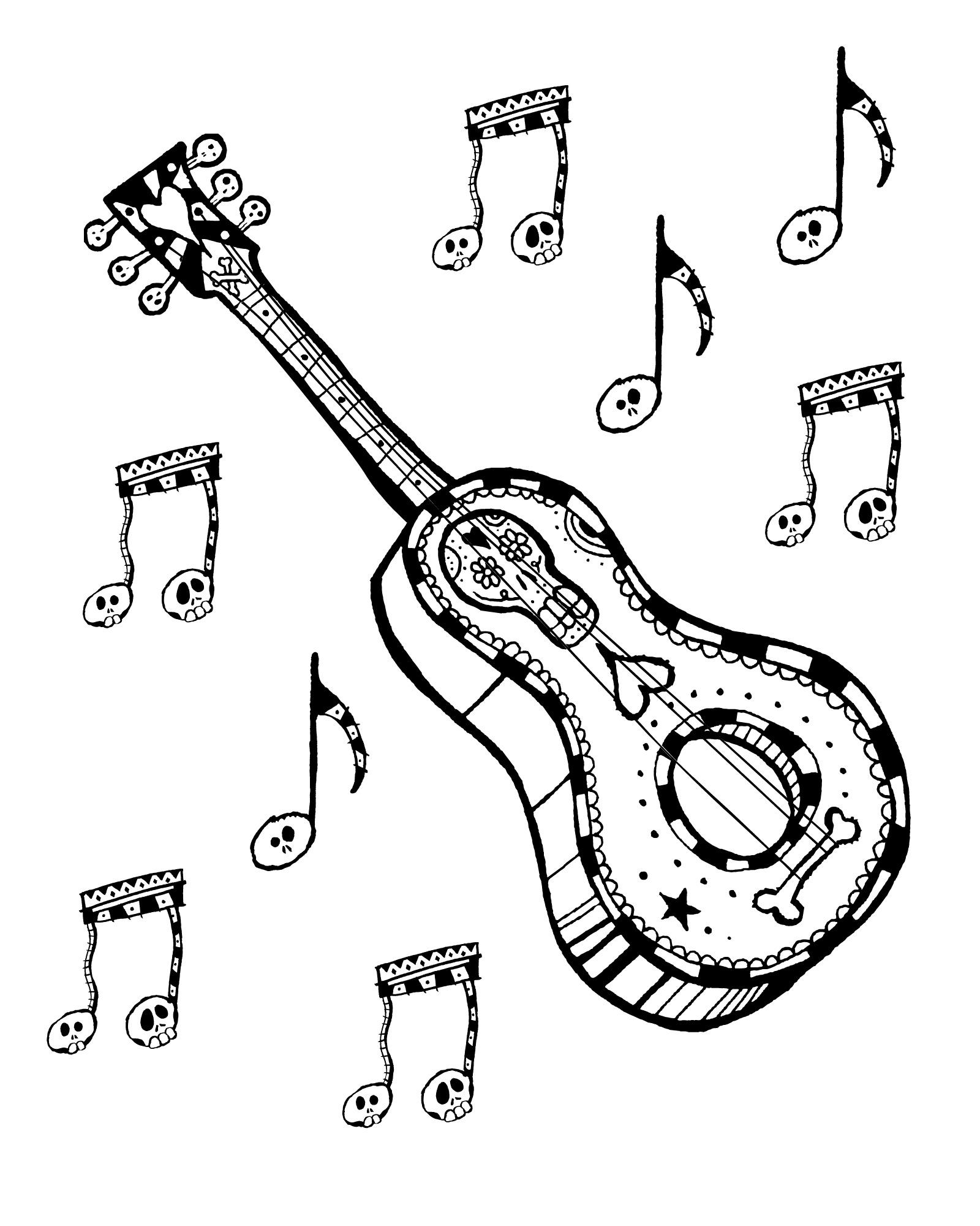 Free Printable Dia de Los Muertos Guitar Coloring Page #diadelosmuertos #dayofthedead #freeprintable #coloringpage #guitar #musicalinstrument #skulls #sugarskull